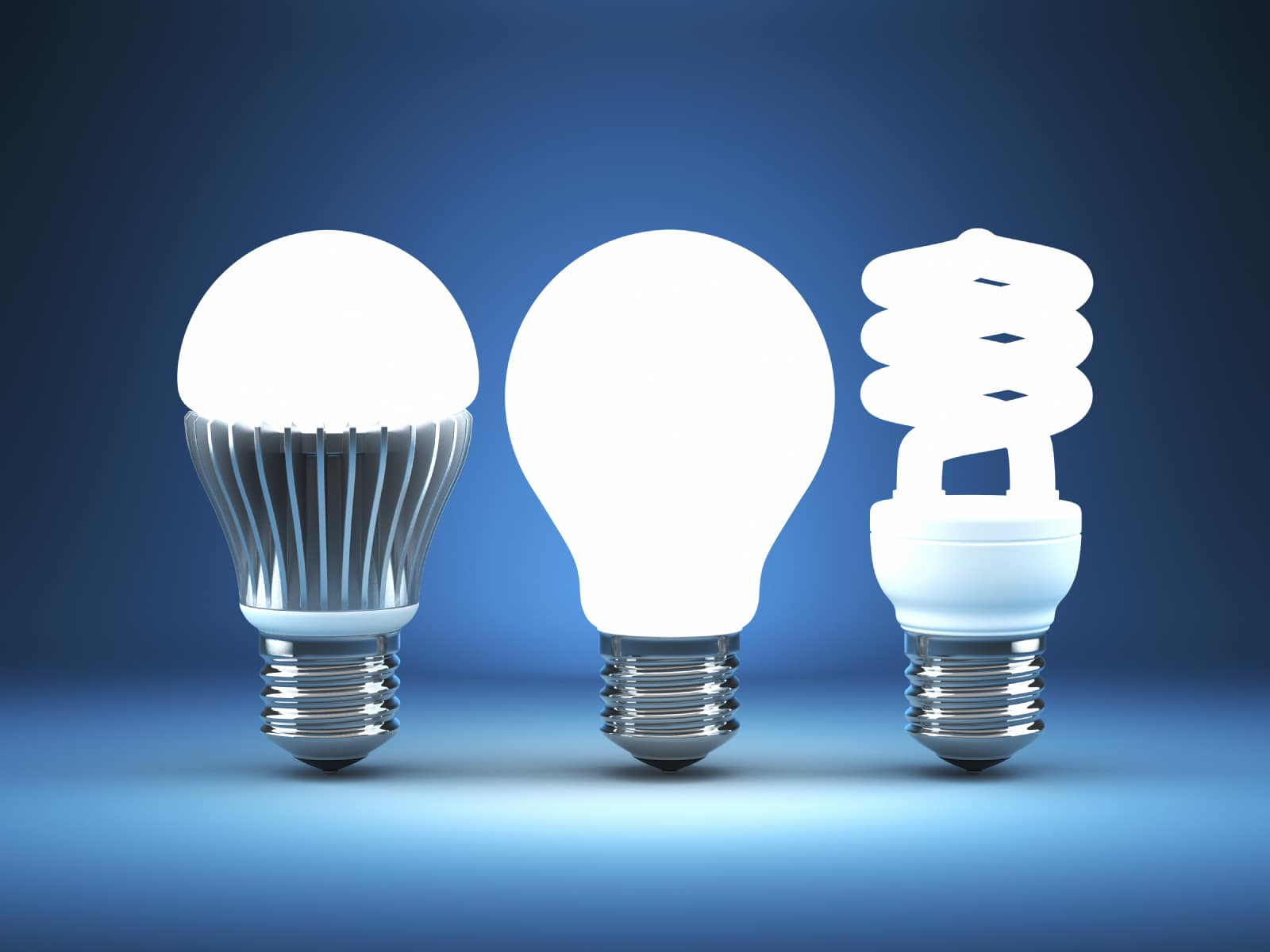 Different styles of LED bulbs